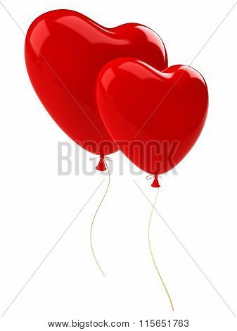 Two red balloons hearts