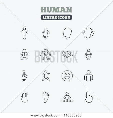 Human icons. Toddler and pregnant woman.