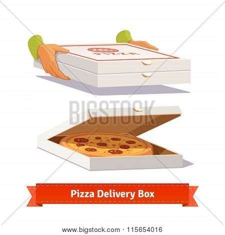 Pizza delivery. Handing a pizza boxes