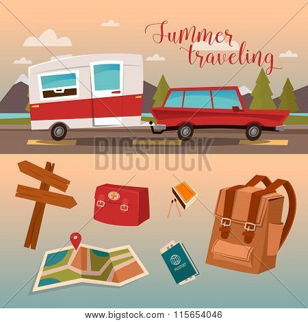 Family Vacation Time. Active Summer Holidays By Camper