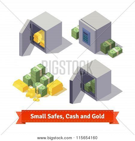 Small safes with gold bars and cash