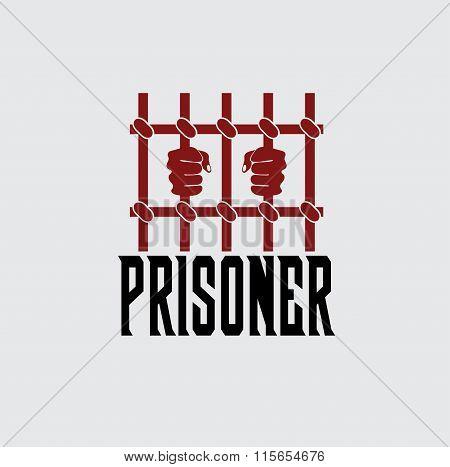 Prisoner Hands Behind Bars Vector Design Template