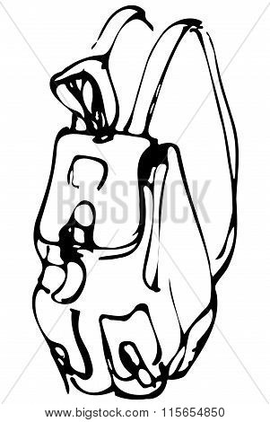 Vector Sketch Of A Backpack With Pockets