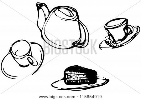 Vector Sketch Background Cup Cakes And Tea