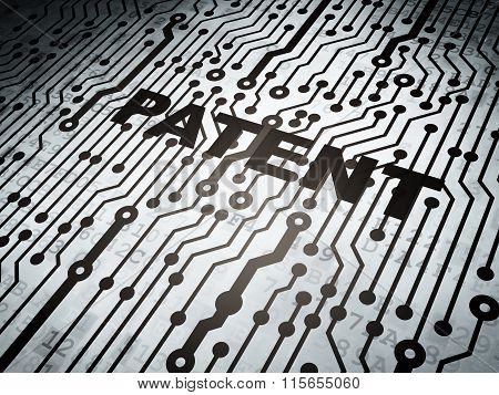 Law concept: circuit board with Patent