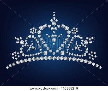Diamond tiara made a lot of diamonds  - vector illustration