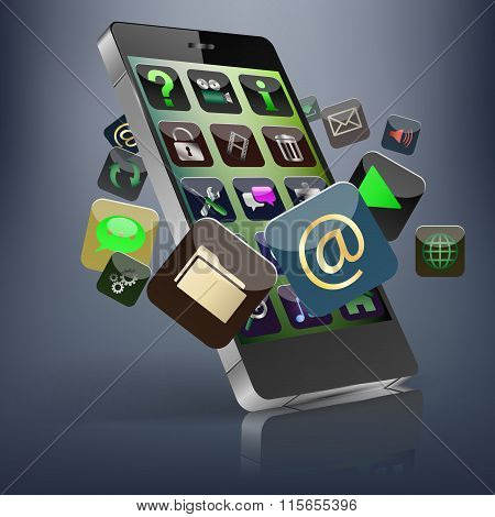 Touchscreen Smart Phone with Cloud of Media Application Icons. Vector Image