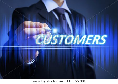 Businessman writing new customers on virtual screen. Internet and networking concept.