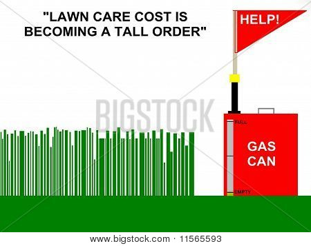 Lawn Care Fuel Cost Concept Sign