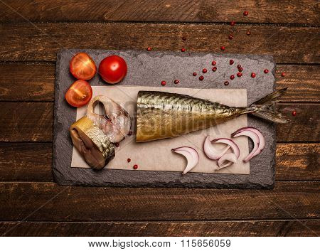 Smoked Fish With Onion, Tomato And Pepper. Food Background. Smoked Mackerel Background. Smoked Macke