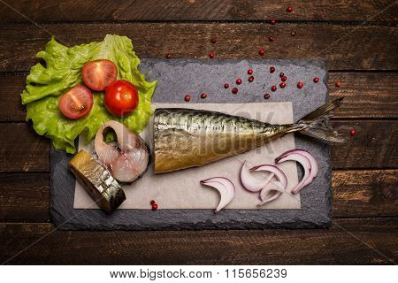 Food Background. Smoked Mackerel Background. Smoked Mackerel On Slate Board, Top View.  Smoked Fish