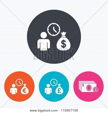 Bank loans icons. Cash money symbols.
