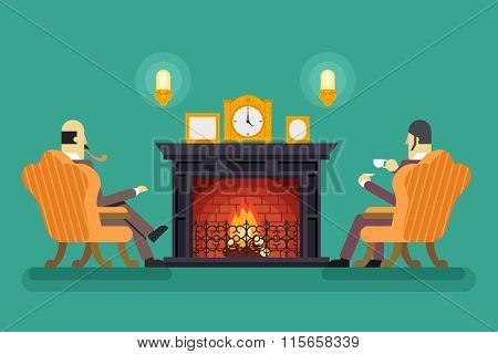Gentlemen at Fireplace Tea Drink Evening Discussing Business Concept Icon Background Flat Design Vec
