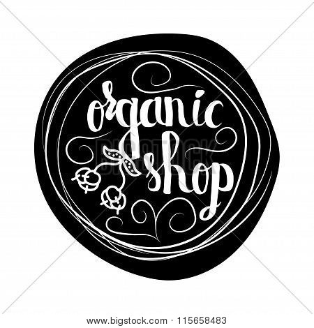 Creative typographic poster  for the online shops  to sell 100 percent organic products and food. Ve