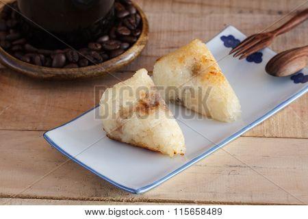 Sticky Rice With Banana, Taro Filling