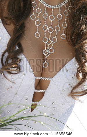 Bridesmaid Necklace On The Neckline Close Up