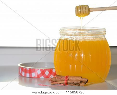 Honey On The Window With Isolated Background
