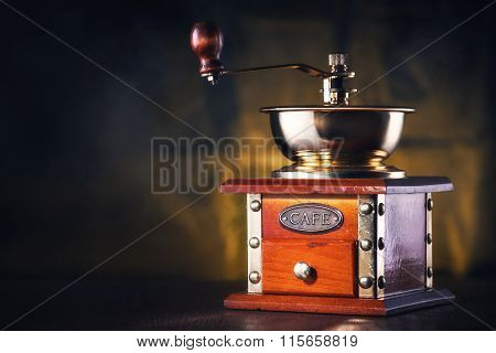 Coffee Grinder With Empty Place For Your  Coffee Cup Or Text