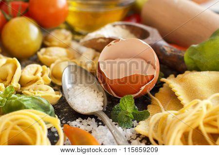 Fresh Pasta And Ingredients