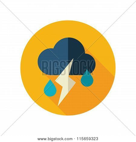 Cloud Rain Lightning flat icon. Weather