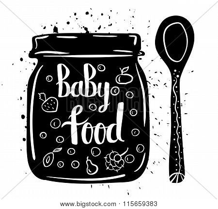 Children natural food. Spoon and Jar of baby puree fresh vegetables and fruits isolated on a white b