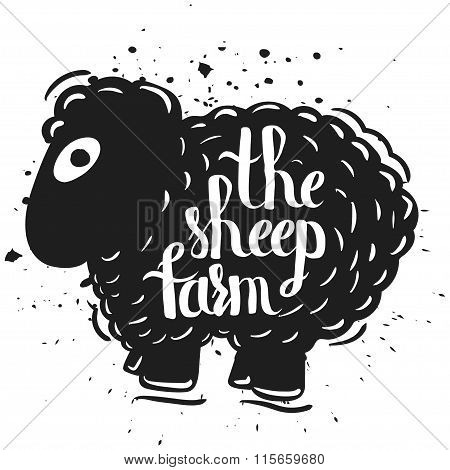 Hand drawn lettering typography poster the silhouette of a sheep isolated on a white background. Rur
