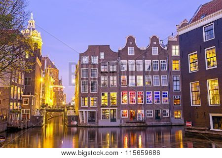 City scenic from Amsterdam in the Netherlands at twilight