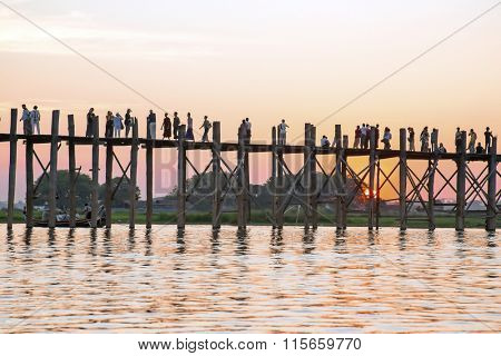 U Bein bridge in Mandalay Myanmar at sunset