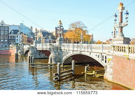 The medieval Blue Bridge in Amsterdam the Netherlands
