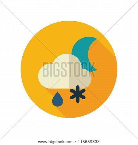 Cloud Snow Rain Moon flat icon. Weather
