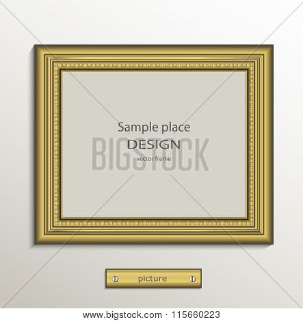 Frame image card paper 3D gold horizontal vector