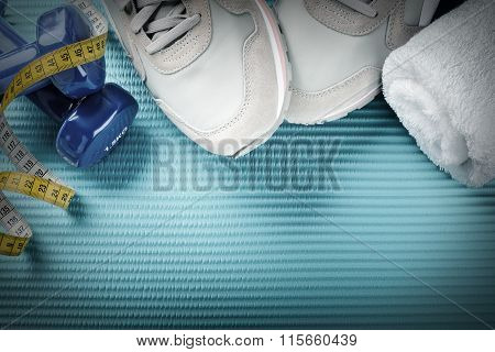 Fitness Frame With Dumbbells, Sport Shoes And Towel. Healthy Lifestyle Concept