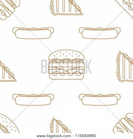 Hot Dog Club Sandwich Burger Outline Seamless Pattern.