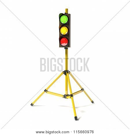 Mobile Stoplight On The Tripod Isolated On The White.