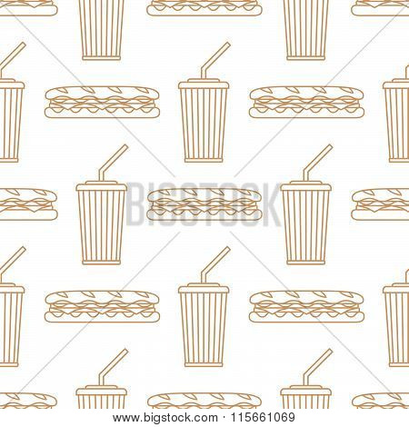 Sub Sandwich Cola Cold Drink Paper Cup Outline Seamless Pattern.