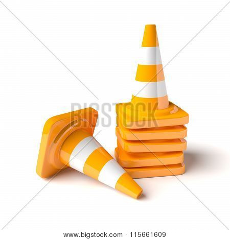 Traffic Cones On The White Background