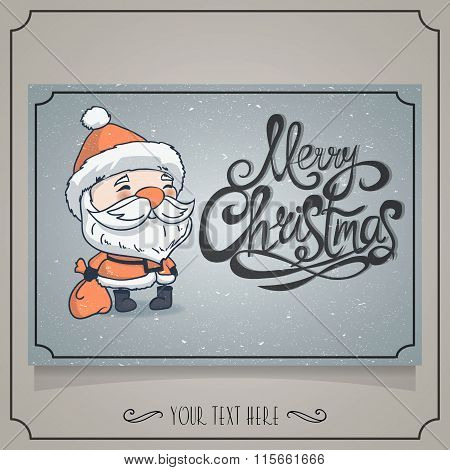 Merry Christmas Card With Character Santa.