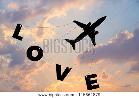Happy Valentine's Day, Silhouette Plane Fly At Twilight Sunset Sky Time With Word Love