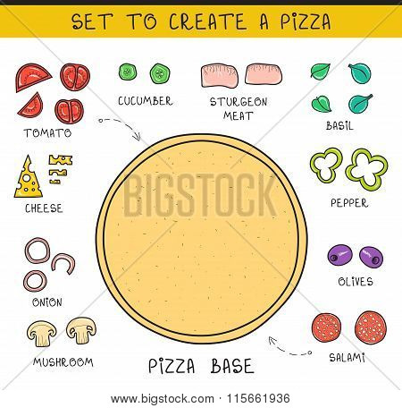 Doodle set of ingredients to build  pizza. Template pizza