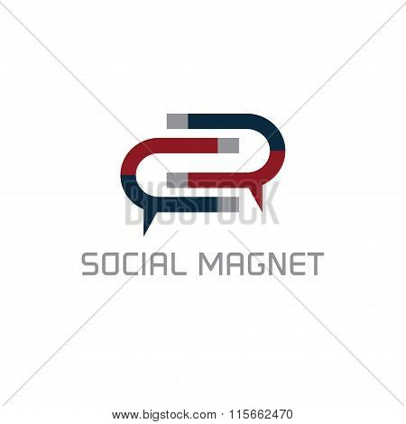 Social Magnet Concept Vector Design Template