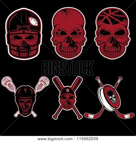 Set Of Sports Team Labels With Skull
