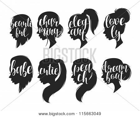 Set of female elegant silhouettes with different hairstyles and calligraphy