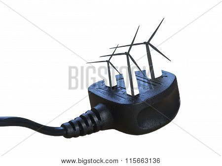 Electric Plug With Wind Turbines