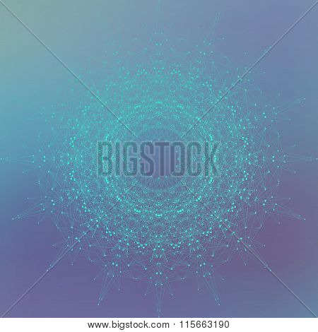 Geometric technology object with connected line and dots. Graphic background for your design. Vector