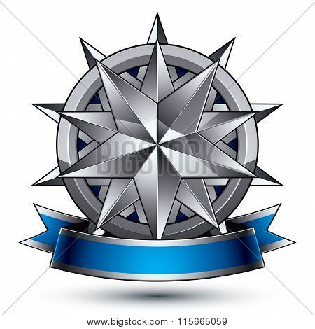 Vector Classic Emblem Isolated On White Background. Aristocratic Badge With Silver Star And Blue And