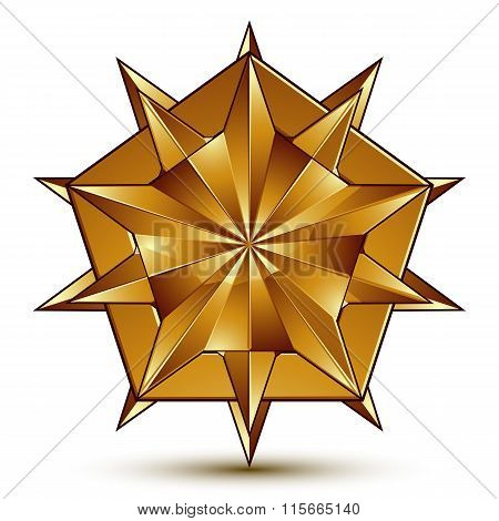 3D Vector Classic Royal Symbol, Sophisticated Golden Star Emblem Isolated On White Background, Gloss