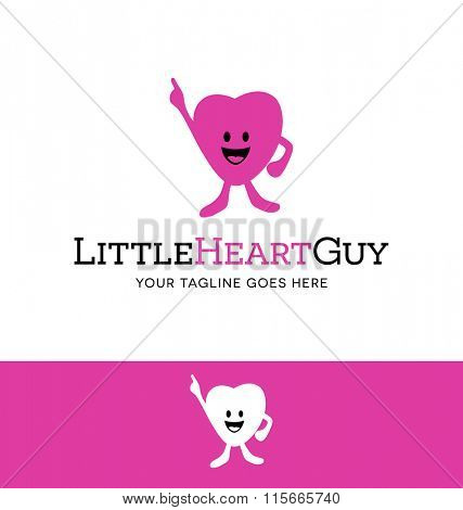 logo of a cute heart shaped character for business, organization or website