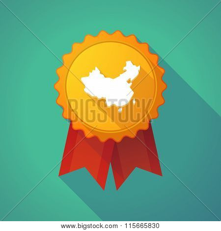 Long Shadow Badge Icon With  A Map Of China