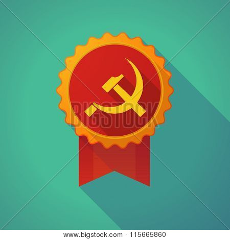 Long Shadow Badge Icon With  The Communist Symbol