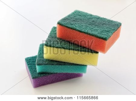 Set Of Colorful Sponges For Washing Dishes
